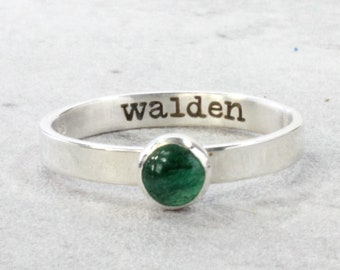 Sterling Silver Name Ring with Birthstone // Inside Engraved Ring // Personalized Ring - Custom Stacking Ring - Engraved Ring // Mom Ring