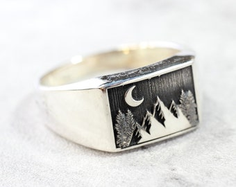 Sterling Silver Mountain Ring // Large Ring with Engraved Mountains and Crescent Moon // Men's Ring
