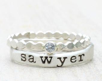 Sterling Silver Name Ring Set // Personalized Stacking Name Rings // Custom Engraved Aquamarine Gemstone Ring / February Birthstone Mom Ring
