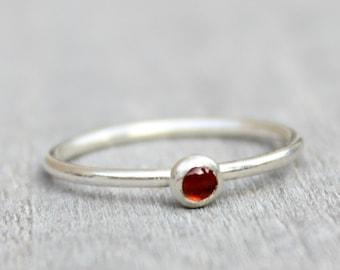Sterling Silver Garnet Ring // Silver Genuine Garnet Stacking Ring // January Birthstone Ring // Tiny Gemstone Ring // Red Stone Ring