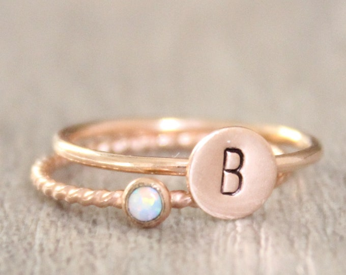 Featured listing image: Rose Gold Opal Ring Set // Rose Gold Initial and Birthstone Ring Set // 14K Rose Gold Filled Stacking Rings // Rose Gold Opal Ring
