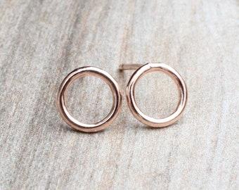 7mm Rose Gold Circle Stud Earrings // 14k Rose Gold Filled Open Circle Studs // Simple Rose Gold Studs