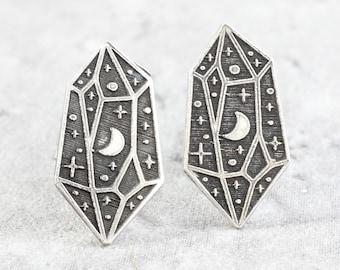 Sterling Silver Crystal Stud Earrings // Star Moon Gemstone Studs // Halloween Celestial Silver Earrings