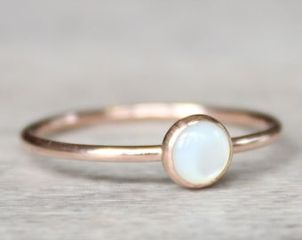 Pearl Ring // 14k Rose Gold Filled Mother of Pearl Ring // June Birthstone Ring // Rose Gold Pearl Ring // Pearl Stacking Ring
