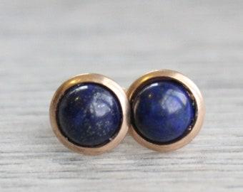 Rose Gold Lapis Lazuli Studs // Rose Gold Lapis Earrings // Cobalt Studs // 6mm Gemstone Earrings // Rose Gold Plated Gemstone Studs
