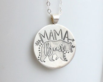 Mama Bear Necklace // Sterling Silver Mama Bear Necklace // Engraved Mother's Necklace Mother's Day Gift