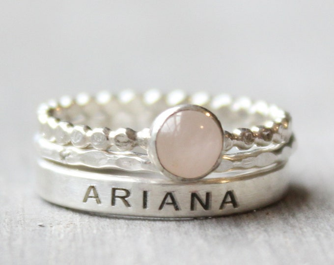 Featured listing image: Rose Quartz Ring Set -  Sterling Silver Gemstone Ring Set - Set of 3 Gemstone and Name Ring - Engraved Ring with 5mm Gemstone