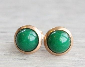 Rose Gold Jade Studs // Rose Gold Green Jade Earrings // Emerald Jade Studs // 6mm Gemstone Earrings // Rose Gold Plated Gemstone Studs