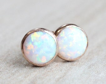 Rose Gold Opal Earrings // Lab Opal Stud Earrings // 6mm Cabochon // 14k Rose Gold Filled Gemstone Studs // October Birthstone