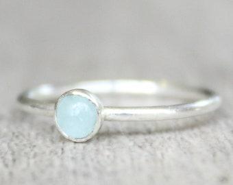 Sterling Silver Aquamarine Ring // Genuine Aquamarine Stacking Ring // March Birthstone Ring // Tiny Gemstone Ring // Sky Blue Stone Ring