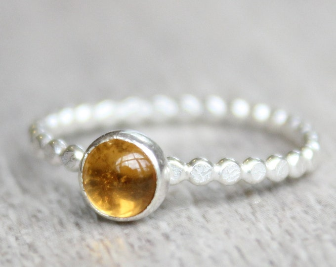 Featured listing image: Sterling Silver Citrine Ring // Silver Citrine Stacking Ring // November Birthstone Ring // Bezel Set Gemstone Ring // Topaz Stone Ring //