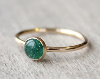 Gold Aventurine Ring // 14K Gold Filled Aventurine Stacking Ring // May Birthstone Ring // Gold Filled Ring // Emerald Green Stone Ring