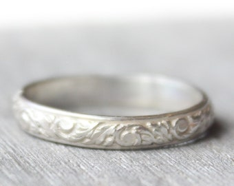 Sterling Silver Patterned Band // Engravable Ring // Thick Stacking Ring // Wedding Band // His or Hers