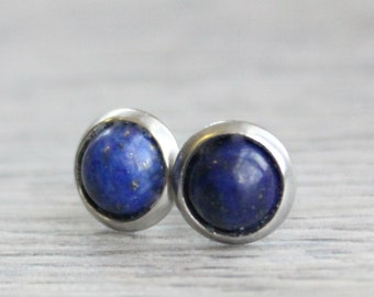 Silver Lapis Lazuli Studs // Stainless Steel Lapis Earrings // Lapis Lazuli Studs // 6mm Gemstone Earrings // Gold Plated Gemstone Studs