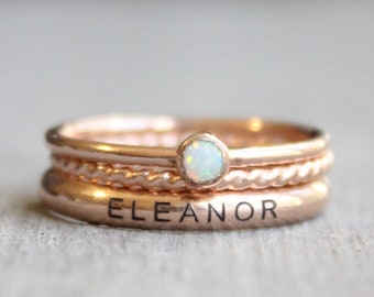 Rose Gold Name Ring Set // Personalized Stacking Name Rings // Custom Engraved Ring Set // Opal Gemstone Ring // October Birthstone Mom Ring