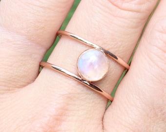 Rainbow Moonstone Ring // Rose Gold Rainbow Moonstone Ring // Double Band 14k Gold Filled Moonstone Ring // June Birthstone Jewelry