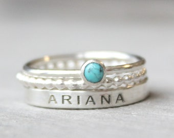 Sterling Silver Name Ring Set with Turquoise Gemstone -  Personalized Ring with December Birthstone - Gemstone Ring Set - Engraved Ring