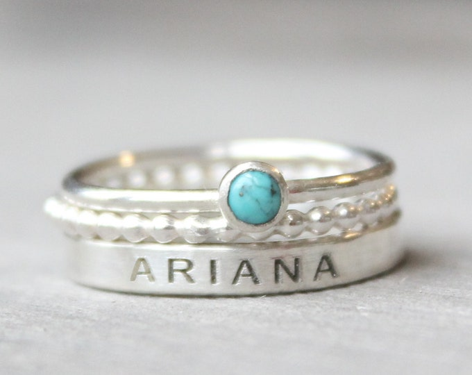 Featured listing image: Sterling Silver Name Ring Set with Turquoise Gemstone -  Personalized Ring with December Birthstone - Gemstone Ring Set - Engraved Ring