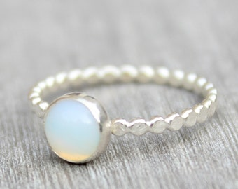Sterling Silver Opalite Ring // 6mm Opalite Ring // Bead Band Ring // Sterling Silver Gemstone Ring // Bead Band Ring // Silver Opal Ring