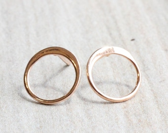 Rose Gold Circle Stud Earrings // 18k Rose Gold Plated Sterling Silver Open Circle Studs // Simple Rose Gold Studs