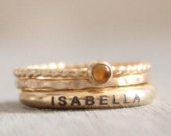 Gold Name Ring Set // Personalized Stacking Name Rings // Custom Engraved Ring Set // Citrine Gemstone Ring // November Birthstone Mom Ring