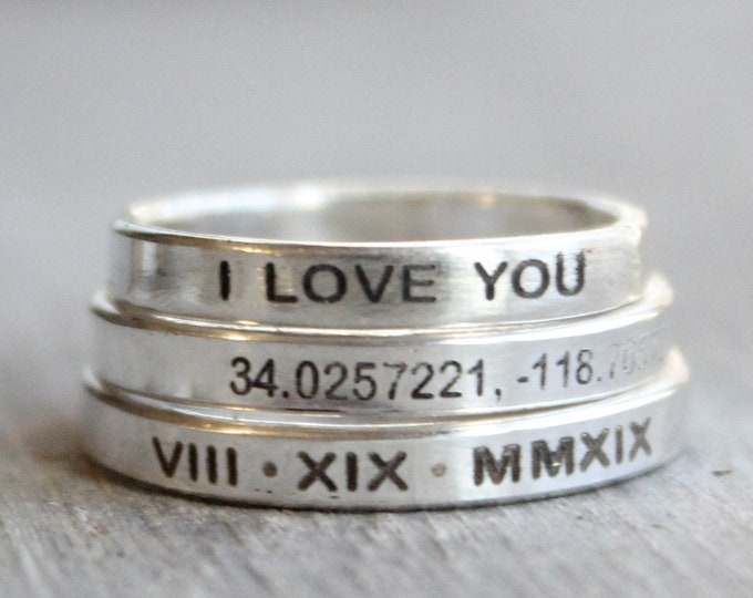 Featured listing image: Sterling Silver Personalized Ring //  Personalized Name, Date, Roman Numeral Ring - Custom Stacking Ring - Engraved Coordinates Ring