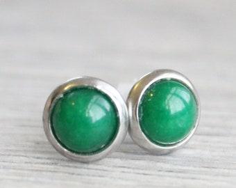 Silver Jade Studs // Stainless Steel Green Jade Earrings // Emerald Jade Studs // 6mm Gemstone Earrings // Gold Plated Gemstone Studs