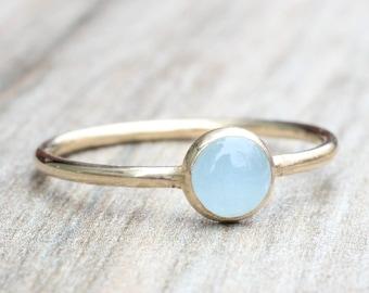 Aquamarine Ring // Gold Gemstone Ring // Gold March Birthstone Ring // Stacking Ring // 14K Gold Filled Aquamarine Ring