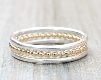 Stacking Rings // Set of 3 Simple Sterling Silver and Gold Filled Stacking Rings // Bead and Smooth Bands // Mixed Metals Stackable Rings