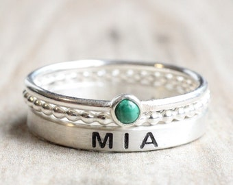 Sterling Silver Name Ring Gemstone // Name Ring Set with Malachite Stone //  Personalized Ring with May Birthstone // Engraved Ring