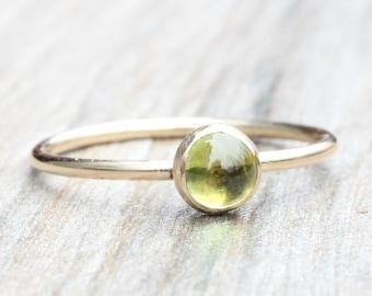Gold Peridot Ring // Yellow Gold Filled Gemstone Ring // August Birthstone Ring // Stacking Ring // 14K Gold Filled Ring