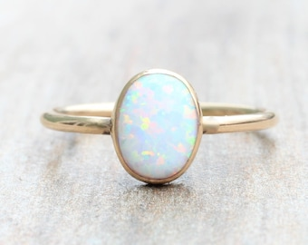Lab Opal Ring // Gold Opal Ring // Oval Opal Ring // October Birthstone Stacking Ring // 14K Gold Filled Opal Ring
