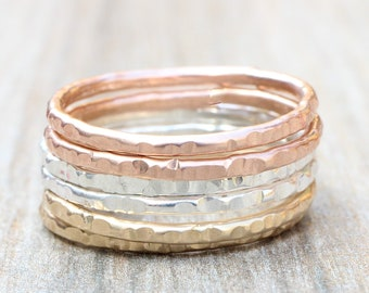 Sparkle Hammered Stacking Rings // Create Your Own Stacking Set // Sterling Silver, Rose Gold Filled or Yellow Gold Filled Stackable Rings