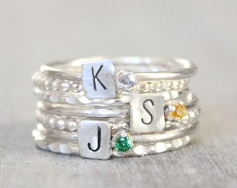 Sterling Silver Birthstone Rings with Initial - Sterling Silver Custom Initial Stacking Rings - Mother's Rings - Personalized Set of 3 Rings