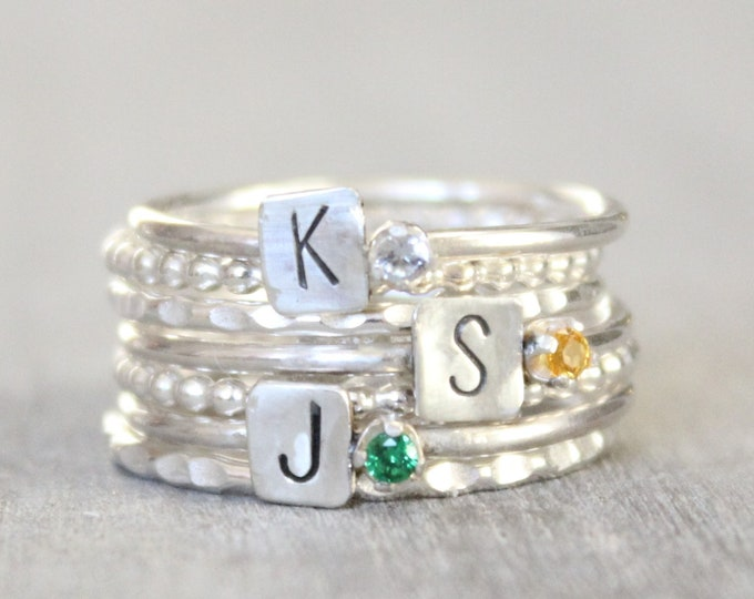 Featured listing image: Sterling Silver Birthstone Rings with Initial - Sterling Silver Custom Initial Stacking Rings - Mother's Rings - Personalized Set of 3 Rings