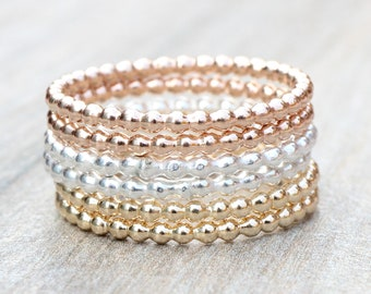 Bead Stacking Rings // Create Your Own Stacking Ring Set // Sterling Silver, Rose Gold Filled or Yellow Gold Filled Stackable Rings