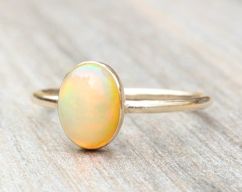 Ethiopian Opal Ring // Gold Opal Ring // Oval Genuine Opal Ring // Stacking Ring // 14K Gold Filled Opal Ring