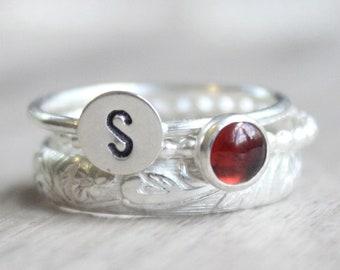 Ruby Ring Set // Gemstone Initial Ring Set // Set of 3 Sterling Silver Gemstone Rings // Birthstone Stacking Rings // July Birthstone