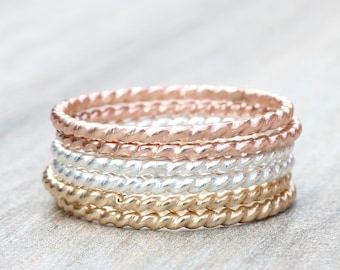 Twist Stacking Rings // Create Your Own Stacking Ring Set // Sterling Silver, Rose Gold Filled or Yellow Gold Filled Stackable Rings