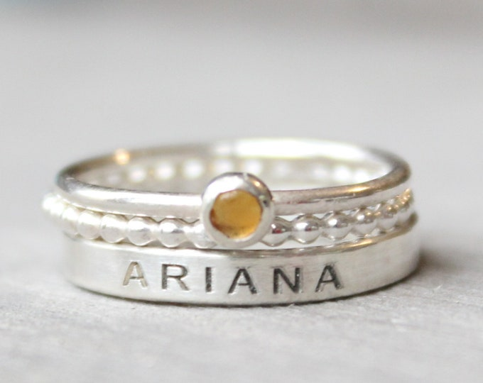 Featured listing image: Sterling Silver Name Ring Set with Citrine Gemstone -  Personalized Ring with Birthstone - Gemstone Stacking Ring Set - Engraved Ring