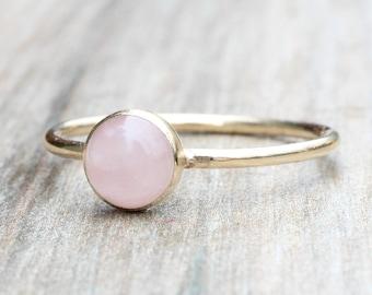 Rose Quartz Ring // Gold Rose Quartz Ring // Rose Gold Ring // Stacking Ring // 14K Rose Gold Filled 6mm Rose Quartz Ring