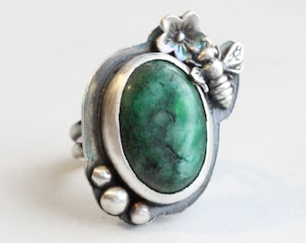 Jade Ring // Sterling Silver Green Jade Ring with Bumble Bee and Flower // Large Gemstone Ring