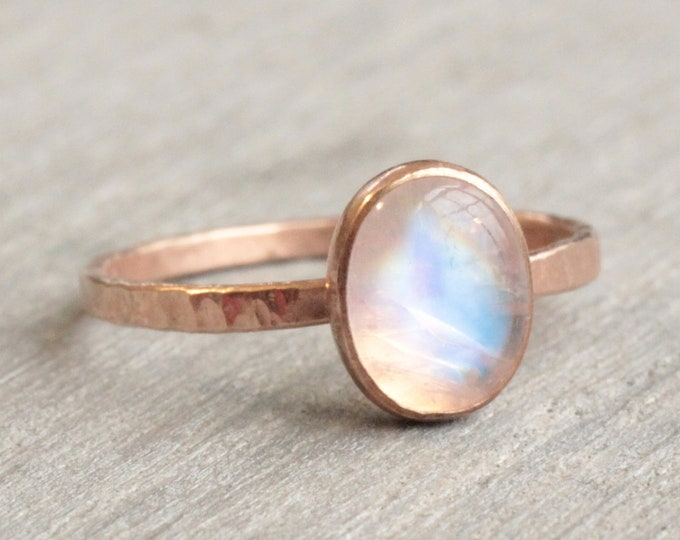 Featured listing image: Rainbow Moonstone RIng // Rose Gold Moonstone Ring // Rose Gold Ring // Moonstone Stacking Ring // 14K Rose Gold Filled Moonstone Ring