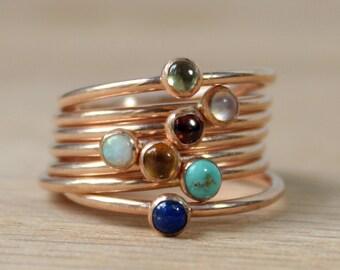 Rose Gold Gemstone Rings // 14K Rose Gold Filled Stacking Rings // Birthstone Rings Opal, Lapis Lazuli, Peridot, Garnet, Moonstone, Citrine