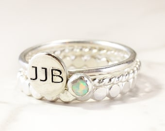 Sterling Silver Engraved Ring with Birthstone - Sterling Silver Custom Initial Stacking Rings- Mother's Rings - Personalized Set of 3 Rings