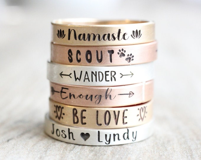 Featured listing image: Inspirational Ring // Personalized Custom // Ring Sterling Silver, Gold, or Rose Gold Filled Name Ring // Engraved Ring