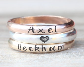Stacking Name Rings // Sterling Silver, Gold, or Rose Gold Name Ring -  Personalized Ring - Custom Name Ring - Engraved Ring