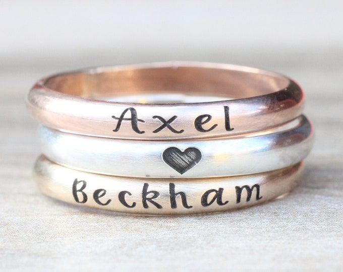Featured listing image: Stacking Name Rings // Sterling Silver, Gold, or Rose Gold Name Ring -  Personalized Ring - Custom Name Ring - Engraved Ring