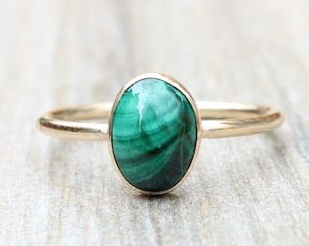 Gold Malachite Ring // Oval Genuine Malachite Ring // Malachite Stacking Ring // 14K Gold Filled Malachite Ring