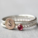 Pink Tourmaline Ring Set // Sterling Silver October Birthstone Initial Stacking Rings // Personalized // Silver and Rose Gold